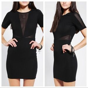 Lucca Couture Black Mesh Cutout Bodycon Dress